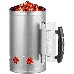 BBQ allume-charbon pour BBQ allume-cigare cheminée Cheminée en acier Barbecues 28 x 18 cm Argent Cheminée d'allumage Cheminée d'allumage Barbecue Barbecue Briquet Poignée de sécurité