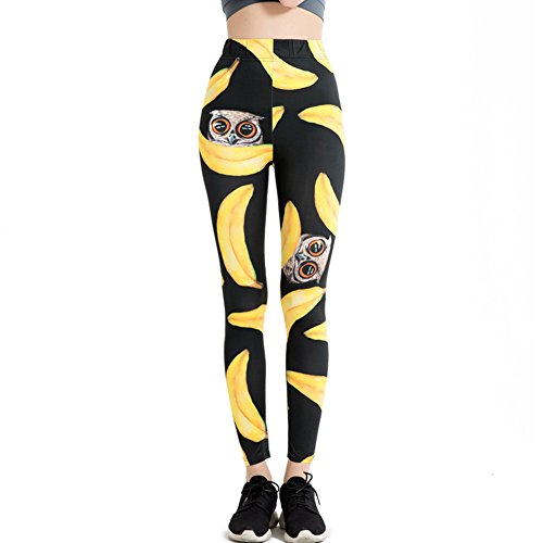 Morbuy Damen Leggings, Sport Gym Yoga Workout Pants Basic Fitness Hohe Taille Jogginghose Trainingshose Skinny Hosen Hose Sporthose (L, Schwarz und Gelb) - Hose Asics Workout