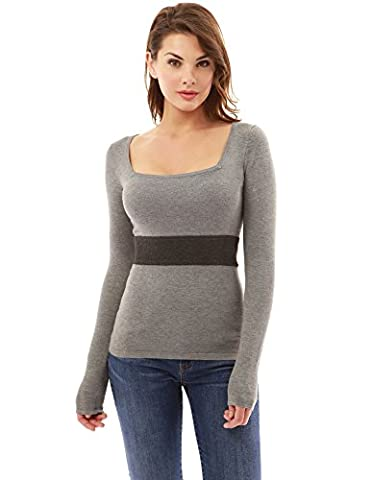 PattyBoutik Women's Square Neck Block Color Jumper (Light Grey and Dark Grey 8/10)