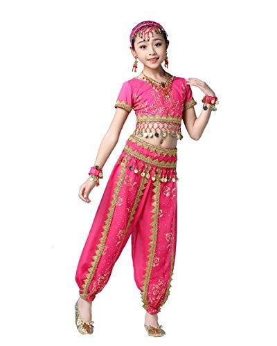 Grouptap Bollywood Girl bharatanatyam Folk Tribal Indian Kids Fancy Dance Dress Azul/Rosa Rojo Princesa árabe Falda del Vientre Trajes Traje (Rosa, 105-130 cm)