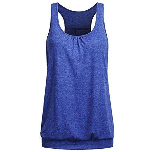 Racerback-bh Tank (TUDUZ Damen Rundhals Stretch Sport Top Cute Racerback Yoga Workout Sommer Shirts Tank Top (XXL,Dunkelblau))