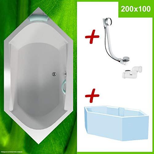Sechseck Badewanne groß 200x100 mit Wannenträger NORMA ✔ KOMPLETTANGEBOT