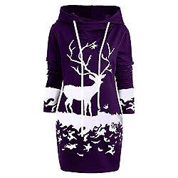 VEMOW Weihnachten Mini Pullover Kleid Damen Frauen Casual Daily Party Freizeit Kordelzug Monochrom Rentier Gedruckt Kapuzenkleid(X1-Violett, 38 DE/M CN)