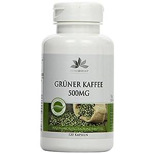 Grüner Kaffee 500mg – Extrakt mit 45% Chlorogensäure und 3% Koffein – 120 Kapseln – vegan