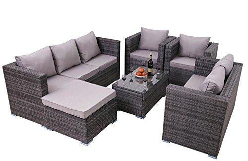 3558a0d2823a Yakoe 8-Seater Rattan Garden Furniture Patio Conservatory Sofa Set ...