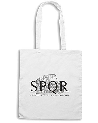 T-Shirtshock - Borsa Shopping T0685 spqr colosseo politica Bianco