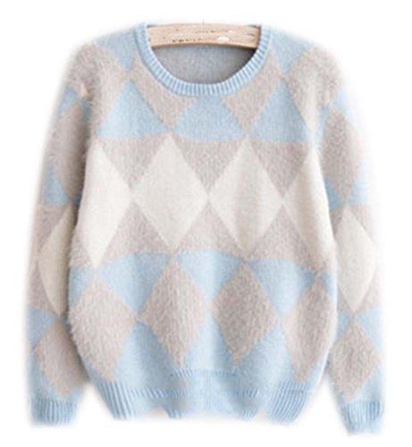 Mohair Pullover Damen Rundhals Pullover Diamond Linien Multicolor Frauen Mantel Winterpullover Warme Winterjacke Pullis Herbst Winter Blau Diamond-pullover Für Frauen
