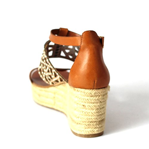 BCB generazione cuneo sandali, misura 3, 5, da £152 Argento (Toffee-Gold)