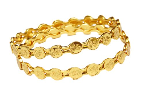 Jewbang GOLD LAXMI PLAIN BANGLES 26 size for women