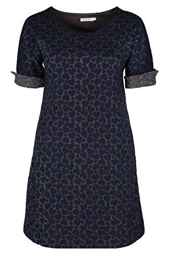 Paprika Damen große Größen Bedrucktes Jacquard-Kleid marine 6 (54) (Lurex-jacquard)