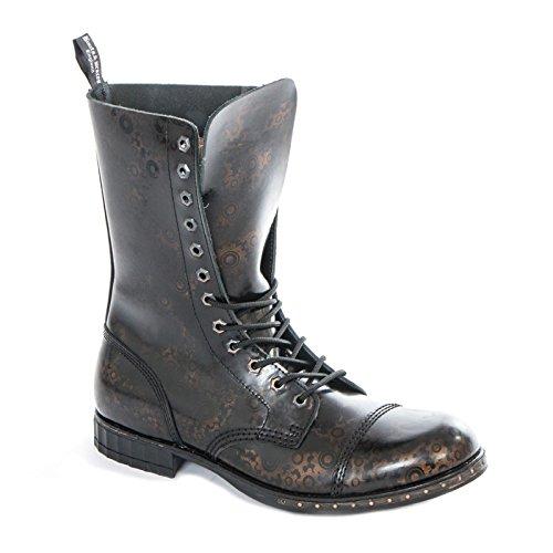 Boots & Braces - 12 Loch Steampunk GEAR Schuhe Gothik Ranger Steam Punk Leder MADE IN EU NEU Schwarz