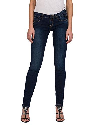 Replay Damen Straight Jeans Vicki, Blau (Dark Blue Denim 7), W28/L32