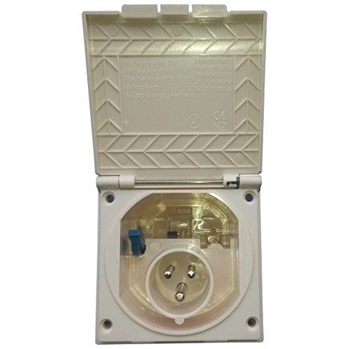 Preisvergleich Produktbild CEE Steckdose für Wohnmobil Caravan bzw. Wohnwagen * IP 44 * Farbe: Elfenbein * Einbaustecker Einbausteckdose Stromanschluss Einspeisungsstecker Einspeisungssteckdose Anschlussdose Außensteckdose