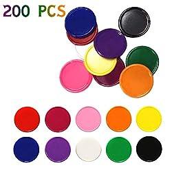 MUCHEN SHOP Zählen Spielchips,Kunststoff Zähler 200er Pack Farbige Bingo Chips Farbzähler für Mathe Mathematik Oder Spiele Lernressourcen 2.5cm