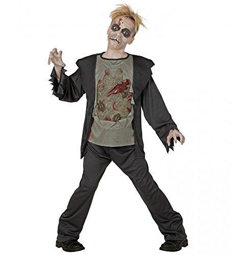 shoperama Kinder-Kostüm Zombie mit verwesendem 3D Brustkorb Jungen Halloween , Kindergröße:158