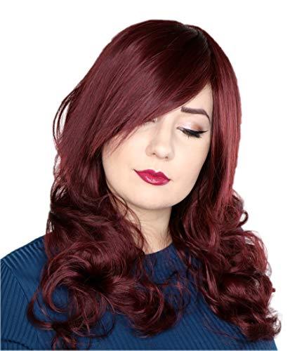 t Bordeaux braun lang-haar 60cm Pinke Perücke Gelockt Welle Party Cosplay wig C1201 ()