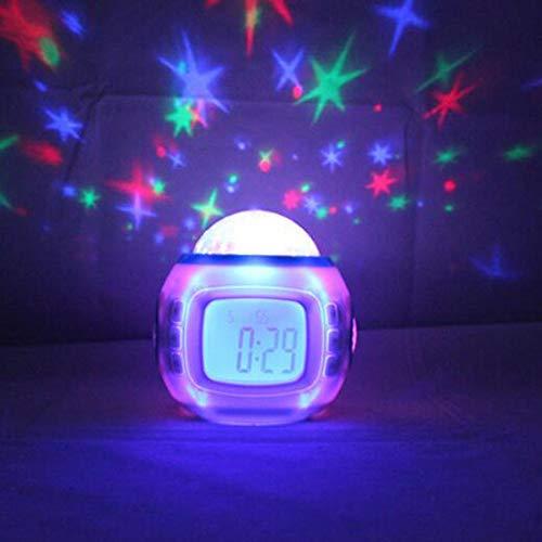 LFLB Creativo música Estrellas proyector Zhong Colorido Reloj Despertador Estudiantes niños cabecera Reloj electrónico Sonido Natural