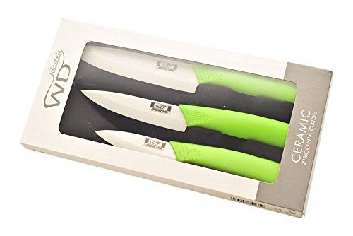 WD Lifestyle ligne Casa Set 3 Couteaux de céramique, Céramique, vert, 24,5 x 12 x 2.5 cm