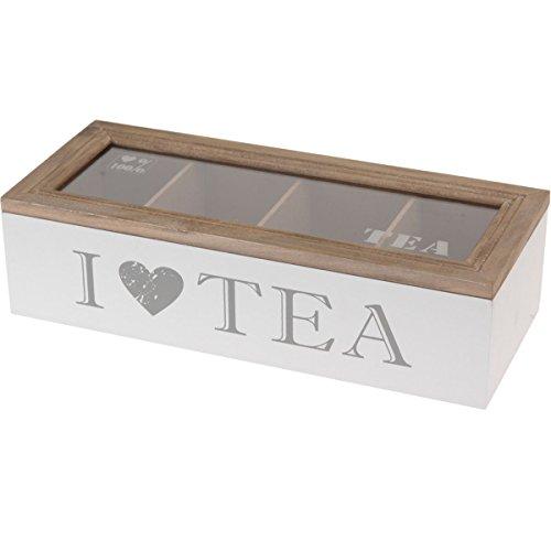 Mazali hz1002800–Bote para té de DM con tapa de madera, cristal, madera, multicolor, 11x 16.5x 7cm