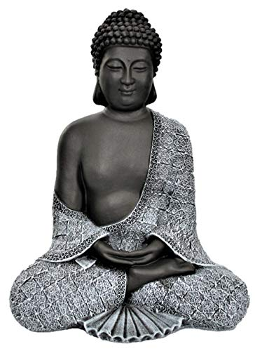 Tiefes Kunsthandwerk Buddha Figur aus Stein sitzend in Schiefer, Grau, Statue frostsicher und wetterbeständig für Garten und Balkon, handgefertigt in Deutschland