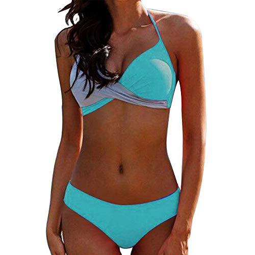 JFan Donna Costume da Bagno Push Up Imbottito Reggiseno Bikini 2019 Donna Due Pezzi Swimwear Abiti da Spiaggia (Verde, L)
