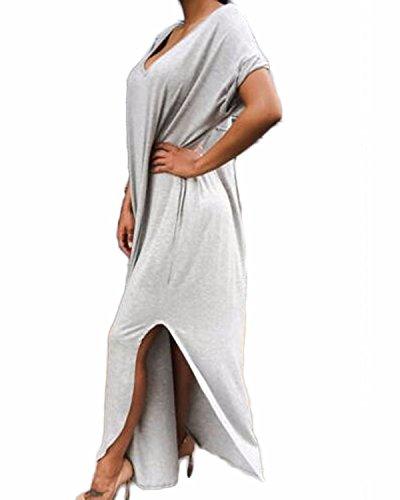 ZANZEA 5 Couleur Sexy Col V Coton Chemise Irrégulier en Vrac Split Maxi Longue Robe S-3XL Gris