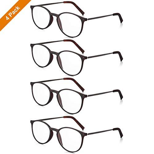 Read Optics 4er Pack +1,5 Dioptrien runde Brillen für Herren/Damen: Schicke Lesebrillen mit leichtem, dunklem Schildpatt Rahmen aus Polykarbonat und schlanken Metall-Bügeln. Klare Gläser mit Sehstärke