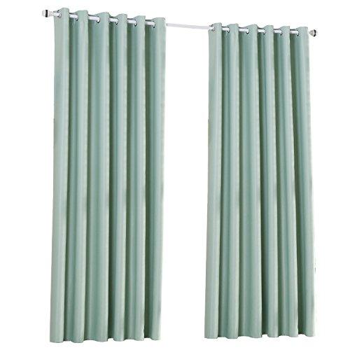 Rideaux Occultants Isolant Thermique à Oeillets pour Chambre Salon Maison Bureau, 140 x 245cm, 2 Panneaux (Vert)