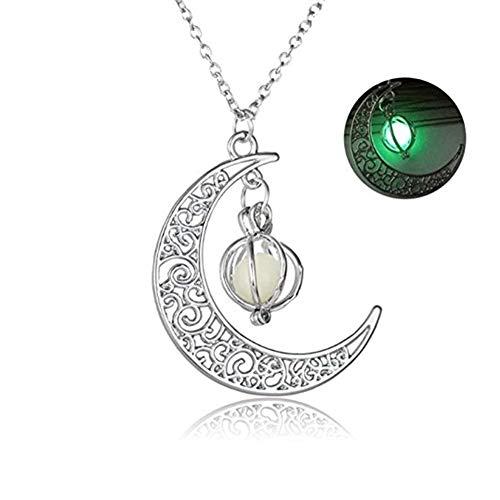 JUNGEN Mond Ketten Leuchtender Halsketten Halloween Clavicle Halskette Halloween Kostüm Dekoration für Frauen und Herren