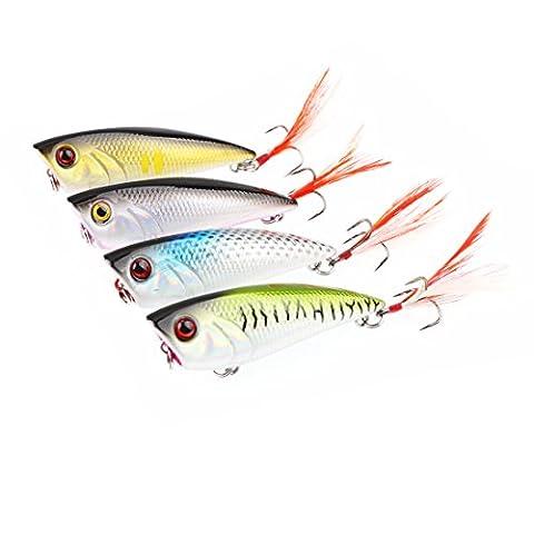 A-szcxtop 4pcs Top Eau flottant Popper dur Leurres de pêche Appât Bass Poissons-nateurs Vie comme Swimbait d'eau douce à l'eau salée Pêche Crochet avec plumes 8g 6.5cm