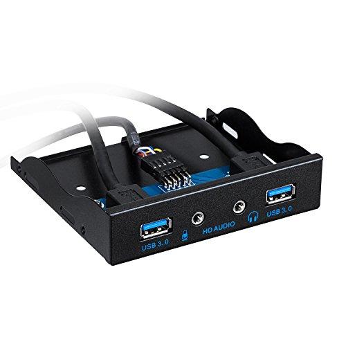 TurnRaise USB 3,0 2 Porte 3,5 Pollici, Pannello Frontale In Metallo USB Hub con 1 Porta di Uscita HD Audio/1 Microfono Porta di Ingresso per il Desktop