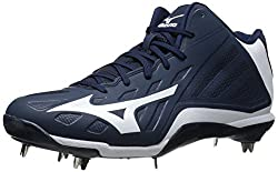 Mizuno Mens Heist IQ Mid Baseball Cleat Navy / White 11.5 D(M) US