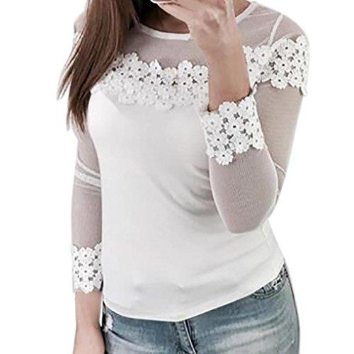 DRESS_start Damen Mesh Spitze Patchwork Elastic Pullover Langarm Crop Shirt Tops Bluse Tank Top Damen Weiß Cartoon Bluse Esprit Sweatshirt (XL) (Tank Trim Mesh)