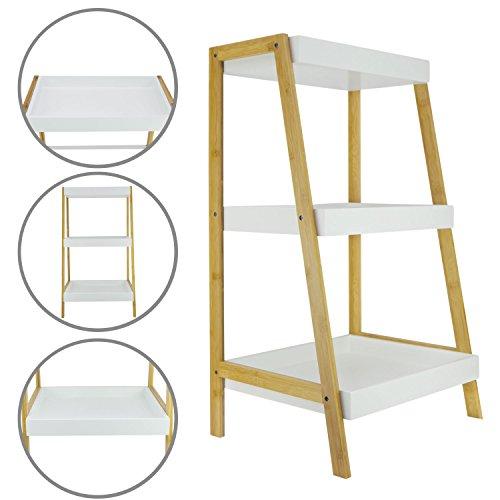 1PLUS Rauma Badregal Standregal Küchenregal mit 3 Ablagefächern aus Bambus