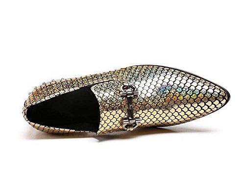Winklepicker Punta punta vera pelle Uomo Pompa Attività commerciale Casuale Scarpe di pelle Scarpe da sposa Stile Inghilterra Pattern di scala di pesce Scarpe da mocassino Monaco Scarpe pigri Scarpe d yellow