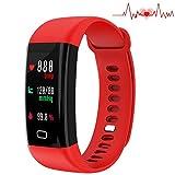 Fitness Tracker, Activity Tracker mit eigenen Herzfrequenz Monitor, 14 Sport Modi, 5 ändern Gesicht, Wireless Bluetooth Smart Armband, wasserdicht IP67 Schrittzähler für IOS/Android Smart Phone(ROT)