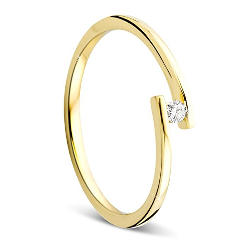 Orovi Ring für Damen Verlobungsring Gold Solitärring Diamantring 9 Karat (375) Brillianten 0.04crt GelbGold Ring mit Diamanten