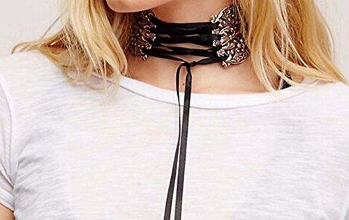aux femmes Large métal creux Collier de collier Personnalisé punk Collier de sangle Collier Clavicule silver