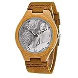 Uhr Armbanduhr Bambus Holz Uhr Naturholz Echtes Leder 011.Asreal - Engel der natürlichen Schönheit & der Lebensfreude UhrenUhr Armbanduhr Für Frauen Männer Paar