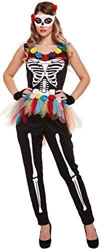 Fancy Me Damen Leuchtend Skelett Tutu Overall Tag der Toten Halloween Horror Kostüm Kleid Outfit 8-10-12 (Beste Kostüme Toten Der Tag)