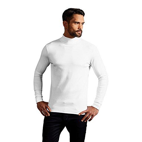 Promodoro Rollkragen Langarmshirt Herren, L, Weiß - Weiße Baumwolle Rollkragen