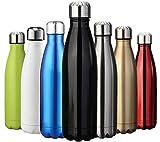ZUSERIS Thermobecher Doppelwandige Trinkflasche Edelstahl Sportflasche Wasserflasche Camping Reisebecher Thermosflasche Haelt Getraenke 12 Stunden Kalt & 24 Heiß BPA Frei - (Schwarz, 1000ml-34oz)