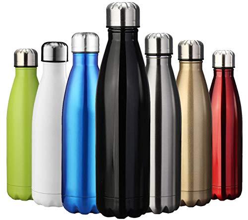 ZUSERIS Thermobecher Doppelwandige Trinkflasche Edelstahl Sportflasche Wasserflasche Camping Reisebecher Thermosflasche Haelt Getraenke 12 Stunden Kalt & 24 Heiß BPA Frei - (Schwarz, 750ml-25oz) (Heißes Getränk-flasche)