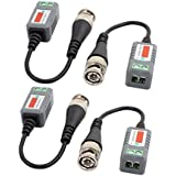 uxcell 2 Pairs Single Channel Passive Transmitter CCTV Video Balun Transceiver Male BNC Adapter