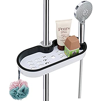 organiseur de salle de bain leefe poteau r glable tag re de douche t lescopique avec crochets. Black Bedroom Furniture Sets. Home Design Ideas