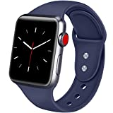 ATUP Armband Kompatibel für Apple Watch 38mm 42mm 40mm 44mm, Weich Silikon Ersatz Armband für iWatch Apple Watch Series 4, Series 3, Series 2, Series 1 (05 Marine Blau, 42mm/44mm-M/L)