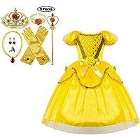 JJAIR Trajes de Princesa Vestido, Amarillo Fiesta de la Princesa del Vestido Belleza para Chicas con Accesorios,140
