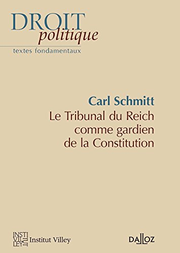 Le Tribunal du Reich comme gardien de la Constitution - Nouveauté