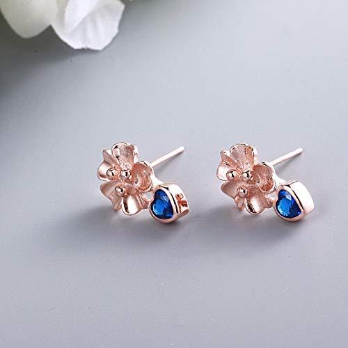 Misp zircone s925 orecchini in argento sterling fiori cuore pesca orecchini amore dolce piccolo chiaro fata orecchini selvatici, oro blu e rosa