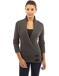 PattyBoutik femmes chandail en tricot col châle orné de boucles